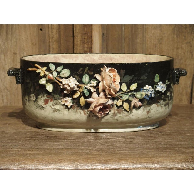 Circa 1880 Edouard Gilles Barbotine Jardiniere From France For Sale - Image 13 of 13