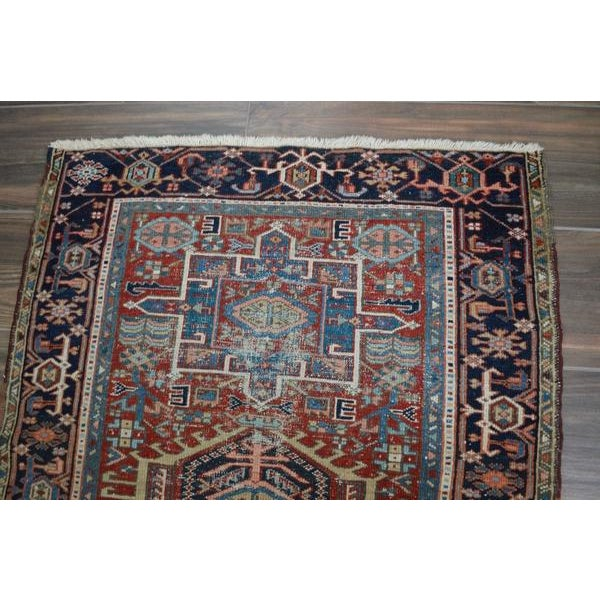 """Antique Shabby Chic Heriz Wool Rug - 3'4"""" X 4'7"""" For Sale - Image 4 of 7"""