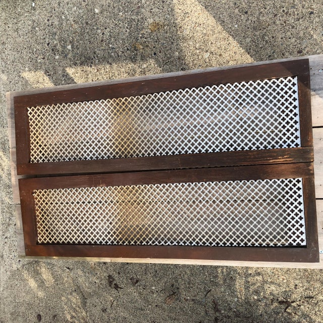 Interior decorative shutters with tin metal inserts chairish - Decorative interior wall shutters ...