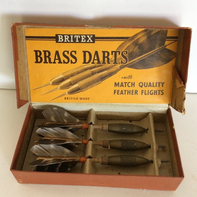 This set of 3 made in Britain Britex brass feather flight darts are in their original 1940's box and were sent to the...