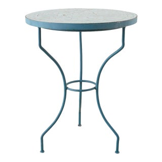 French Tile-Top Mosaic Cafe Bistro Table For Sale