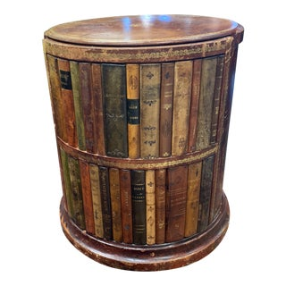 1960s Vintage Italian Leather Faux Book Accent Table For Sale