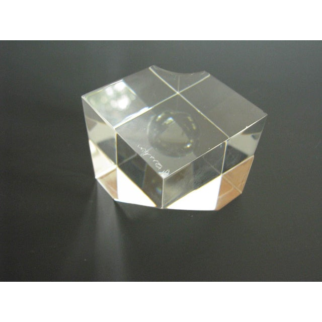 Vintage Steuben Crystal Floating Spheres Cube Prism Paperweight Signed For Sale - Image 9 of 13