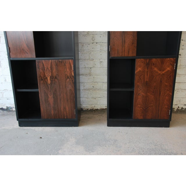 Brown Harvey Probber Rosewood and Ebonized Wood Display Cabinets, Pair For Sale - Image 8 of 11