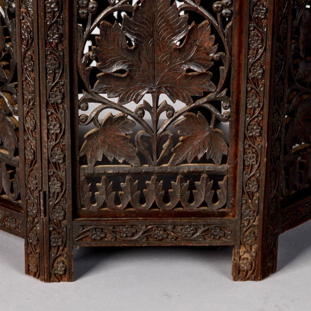 Octagonal Delicately Carved Dark Wood Moorish Table - Image 6 of 9