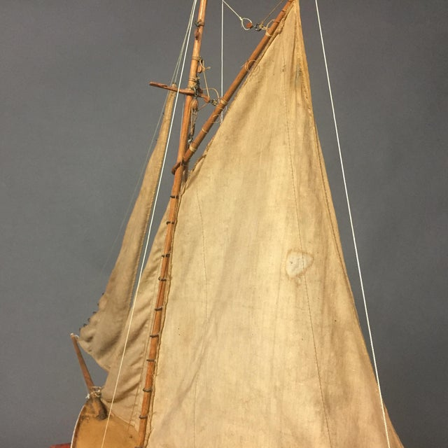 Metal Late 19th Century Tin Pond Sailboat on Stand For Sale - Image 7 of 11