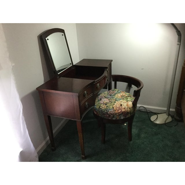 Wood 1960s Vintage Dressing Table and Stool For Sale - Image 7 of 12