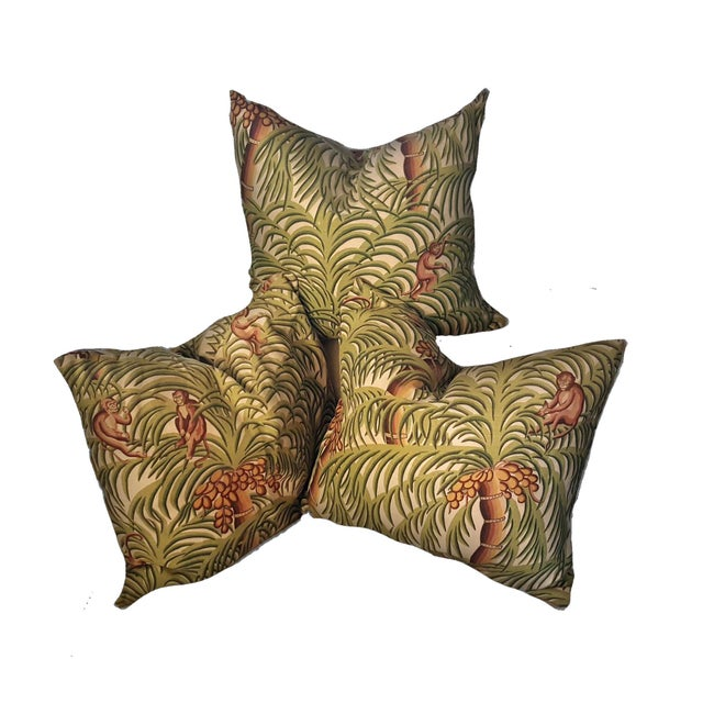 """These Mid-Century pillow covers invite you to """"Monkey Around"""" with a jungle themed motif! These rare vintage printed..."""