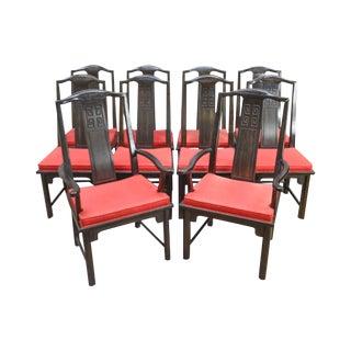 Century Ebony Finished Hardwood Asian Style Dining Chairs - Set of 10