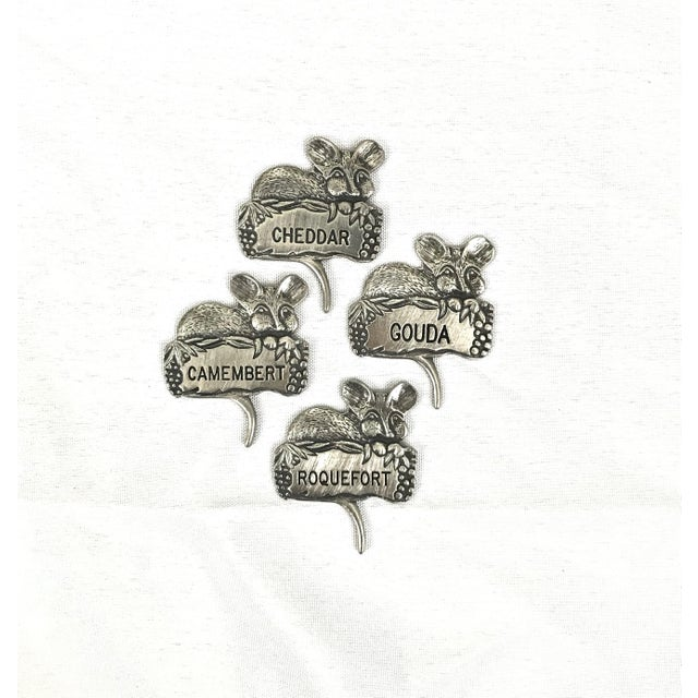 Silver Pewter Mice Cheese Markers For Sale - Image 8 of 8