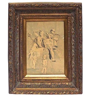 Antique Classical-Style Drawing Study For Sale