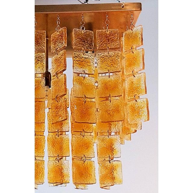 1970s Mid Century Modern Honey/Brass Murano Glass Flush Mount Light by Sciolari For Sale - Image 5 of 6