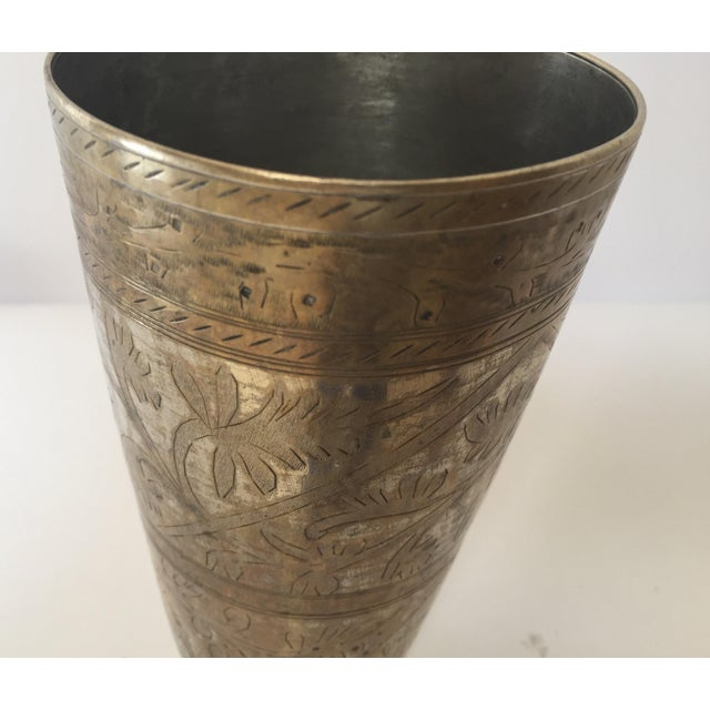 Anglo Raj Mughal Brass Engraved Beakers - Set of 2 For Sale - Image 9 of 12