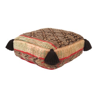 Taupe & Coral Berber Floor Pouf
