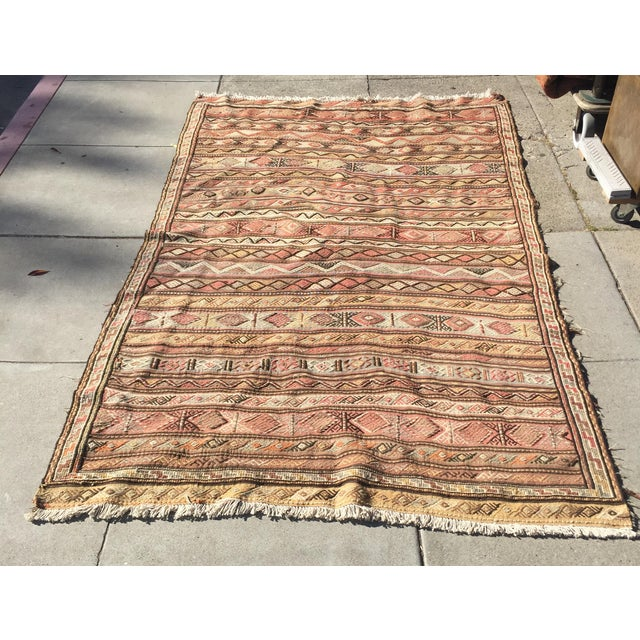 "Vintage hand knotted tribal killim rug in excellent condition. flat weave, Measures 67"" wide x 115"" long. Kilim, a word of..."