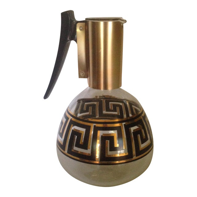Mid-Century Greek Key Glass Coffee Carafe For Sale