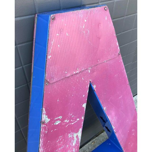 """Large Vintage Blue & White Enamel Metal """"L"""" Building Signage For Sale - Image 11 of 12"""