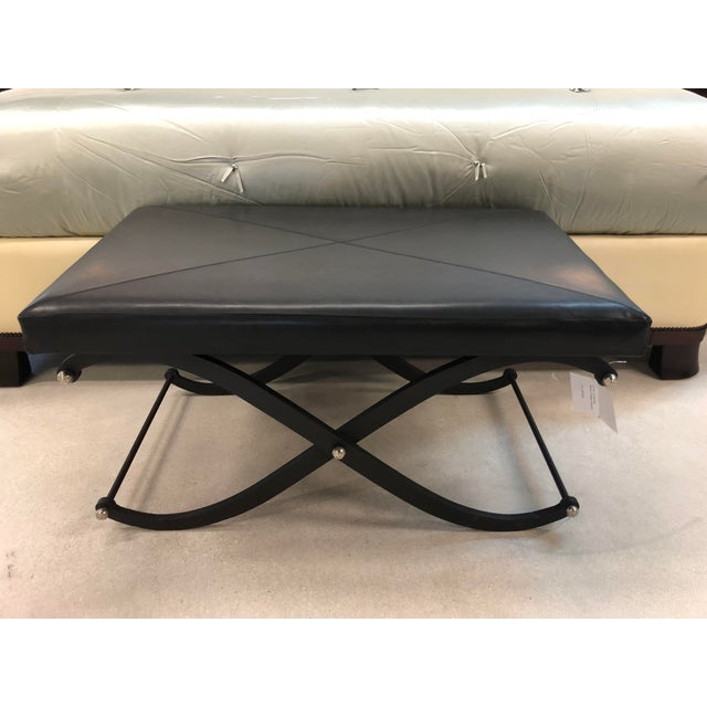 Modern Global Views Iron and Black Leather Ottoman For Sale - Image 10 of 12