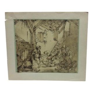 "Vintage Mid-Century Oshade ""Drunken Peasants"" Mounted Print For Sale"