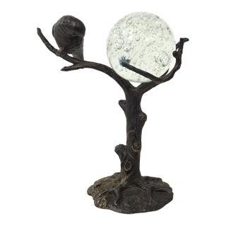 Organic Modern Metal Bird Sculpture With Glass Ball For Sale