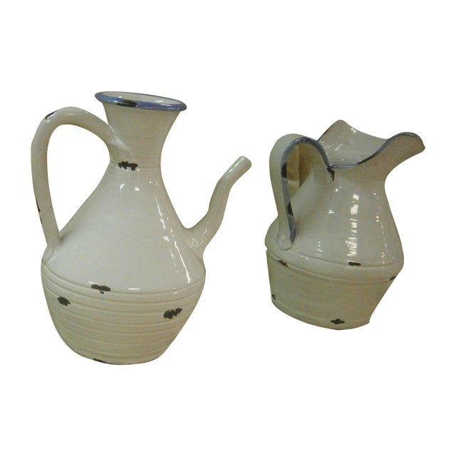 Italian White Pottery Pitchers - A Pair - Image 1 of 5