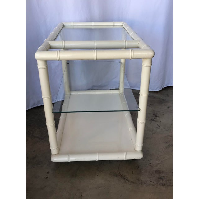 1980s Bamboo-Style White Lacquer Bar Cart/ Trolley For Sale - Image 4 of 10