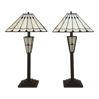 21st Century Mission Stained Glass Style Lamps - a Pair For Sale