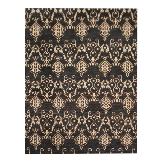 """Hand Knotted Ikat Rug by Aara Rugs Inc. - 9'5"""" X 11'9"""" For Sale"""
