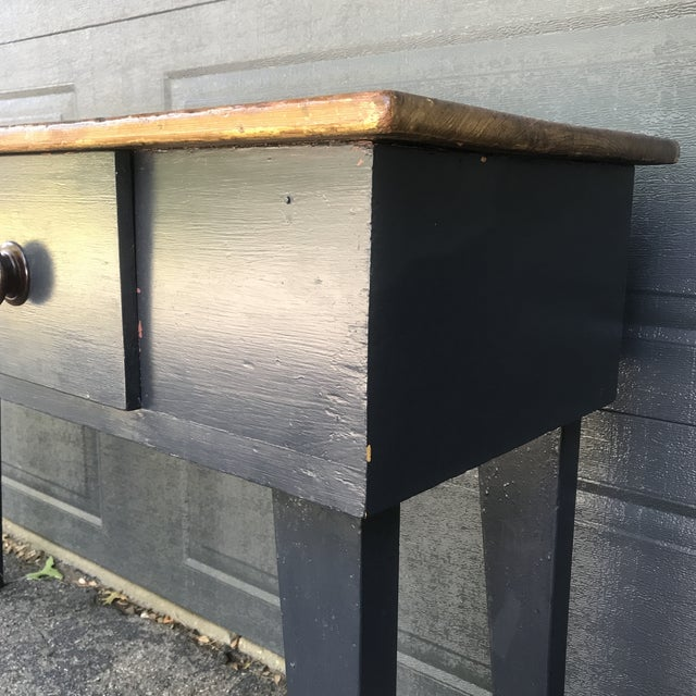 Primitive Navy & Butcher Block Top Console / Island For Sale - Image 6 of 10