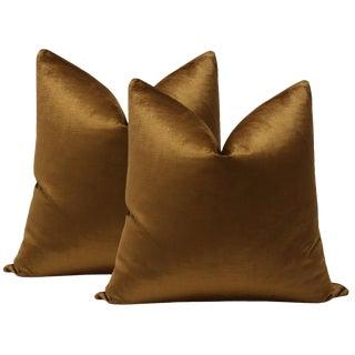 "22"" Cognac Luxe Velvet Pillows - a Pair For Sale"