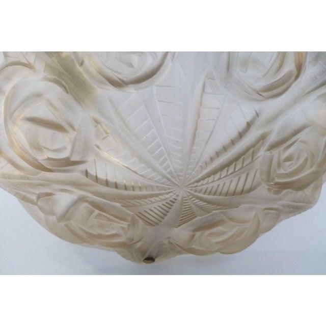 Degue French Art Deco Cast Mauve Glass Pendant Chandelier, Signed, Circa 1930 For Sale - Image 9 of 13