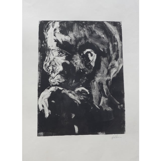 Original Monotype Portrait Drawing - Image 1 of 4