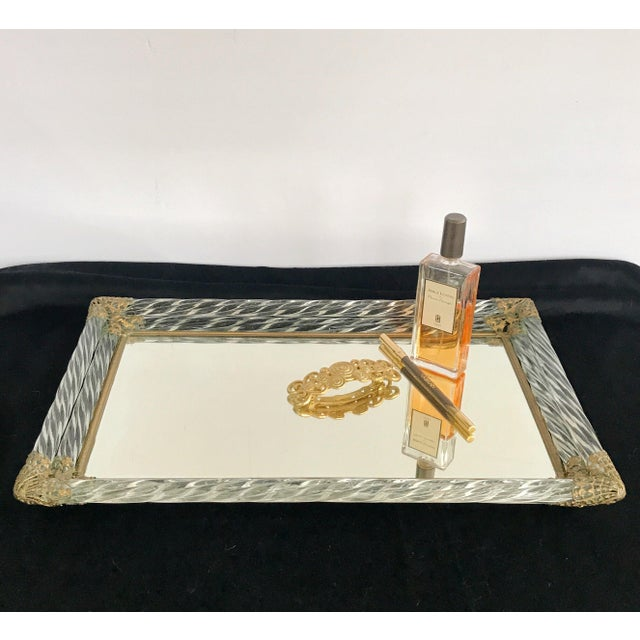 Art Deco Antique Murano Double Twisted Rope Glass Mirrored Vanity Tray Brass Filigree Corners