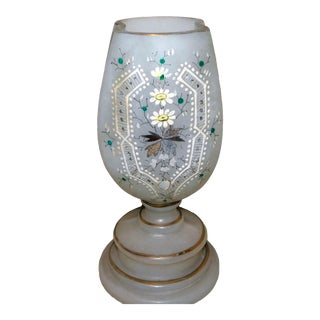 Late 19th Century Victorian Enameled Glass Vase For Sale