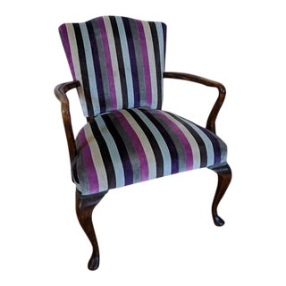 Queen Anne Striped Velvet Upholstered Open Armchair For Sale