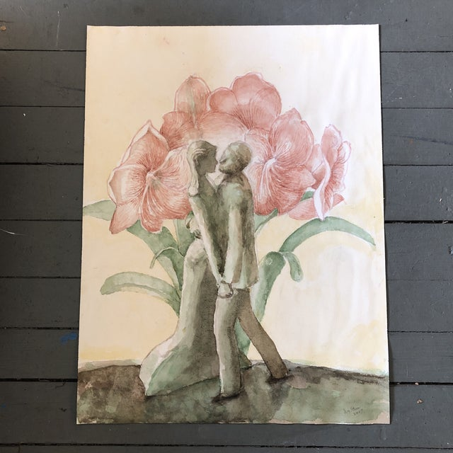 Original Watercolor Painting by Ivy Starr Dancing With Amarillus Flower For Sale - Image 9 of 9