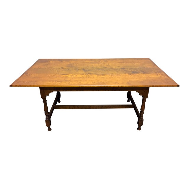 JL Treharn Tiger Maple Mission Shaker Amish Style Farmhouse Dining Table For Sale