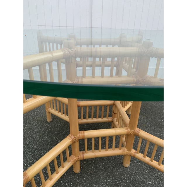 Wood Willow and Reed Bamboo and Glass Round Dining Table For Sale - Image 7 of 11