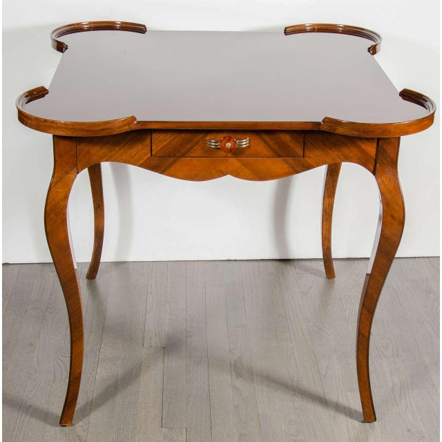 Art Deco Exceptional Art Deco Game Table With Exotic Burled Walnut Inlay For Sale - Image 3 of 11