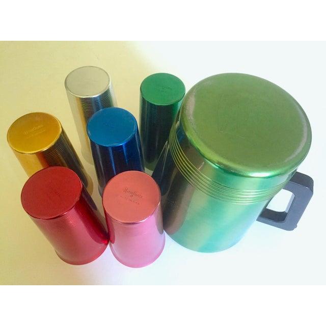 Vintage Mid Century Modern Rare Anodized Spun Aluminum Multicolor Beverage Set - 7Pc For Sale - Image 10 of 12