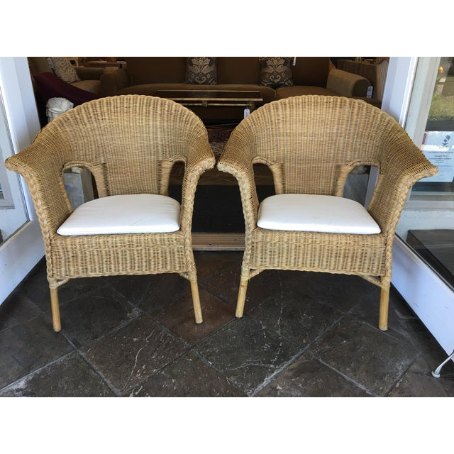 Stackable Wicker Arm Chairs & White Cushions - A Pair - Image 2 of 11