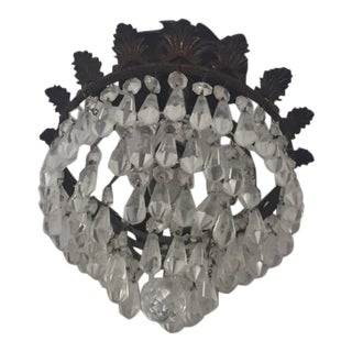 1950s Vintage Bronze Semi Flush Crystal Waterfall Chandelier