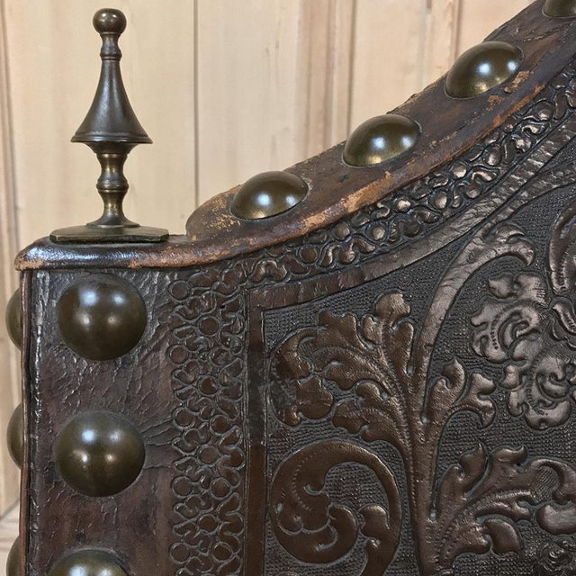 19th Century Spanish Embossed Leather Armchair For Sale - Image 4 of 13