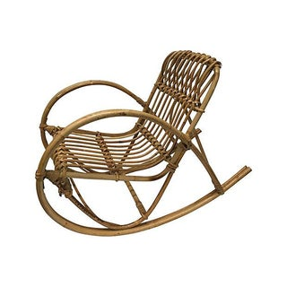 Mid-Century Bamboo Child's Rocking Chair For Sale