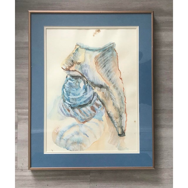 1980s 1980's Two Shells Framed Watercolor Painting - Framed and Signed Original For Sale - Image 5 of 5