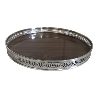 Vintage French Style Silver Plate and Faux Rosewood Bar Tray For Sale