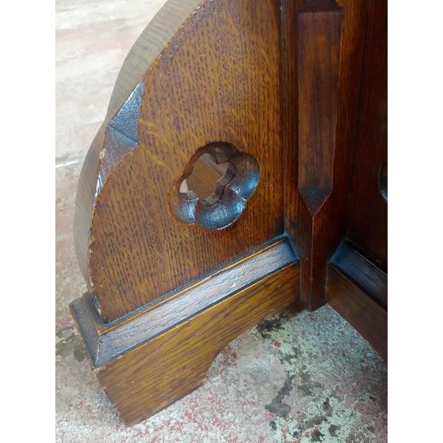 Gothic Revival -Vintage Carved Oak Reading Church Pedestal For Sale - Image 9 of 11