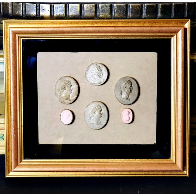 Early 19th Century Antique Framed Italian Plaster Cameos and Intaglios For Sale - Image 10 of 10