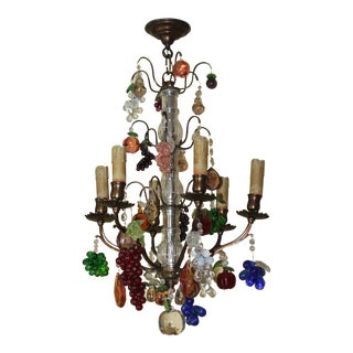 Late 19th Century Maison Bagues Bronze Cage - Murano Fruit 6 Light Chandelier For Sale