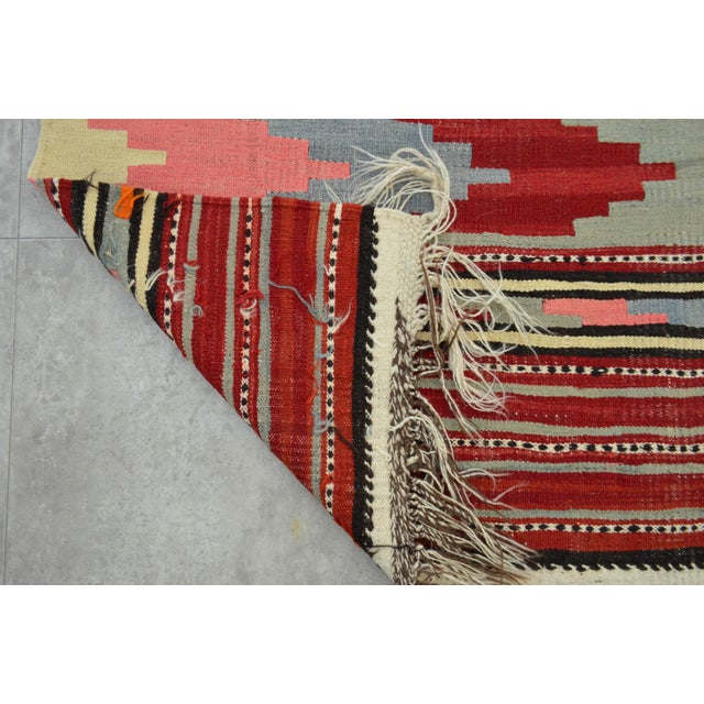 Antique Turkish Kilim Hand Woven Wool Large Runner Rug - 6′5″ × 13′8″ For Sale - Image 9 of 10